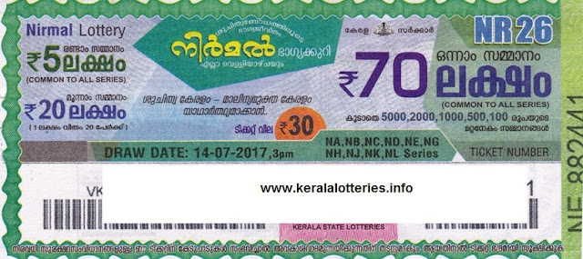 Nirmal Weekly lottery drawn on 14 July 2017