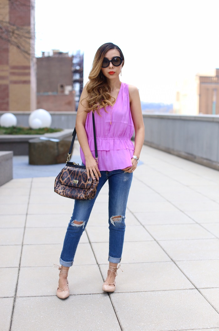 Banana republic Layered Ruffle Tank, its banana, banana republic, spring new arrival, violet tank, dolce and gabbana sisly bag, lace up flats, AG jeans, gorjana necklace, kendra scott earrings, prada sunglasses, nyc fashion blog