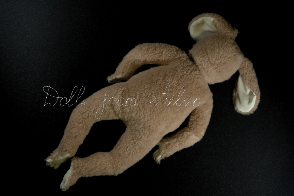 ooak baby teddy doll, view from back