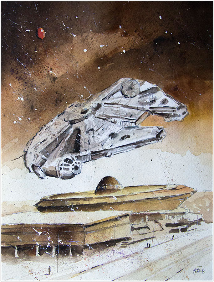 07-The-Millenium-Falcon-over-Spodek-Grzegorz-Chudy-Paintings-of-Star-Wars-worlds-in-Watercolors-www-designstack-co
