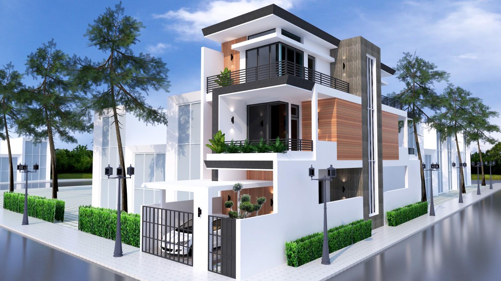 N Home Elevation U : Sketchup home elevation design m samphoas house plan