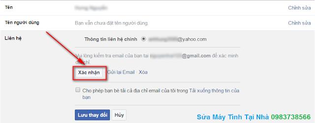 Xác nhận địa chỉ Mail mới