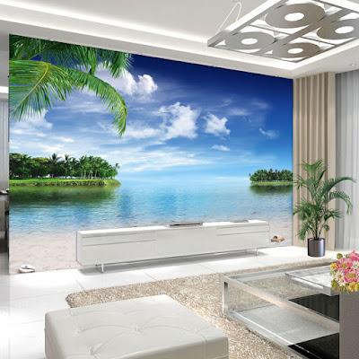 tropisk tapet vardagsrum fototapet 3d hav strand palmer fondtapet