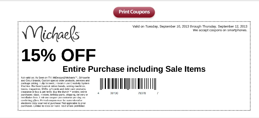 Coupon Michaels Craft Store 15 Off Your Entire Purchase Even Sale