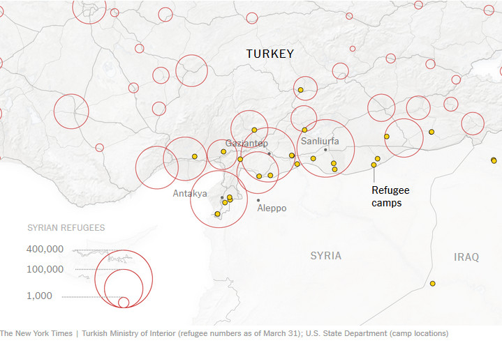 More than a million Syrians live near the border