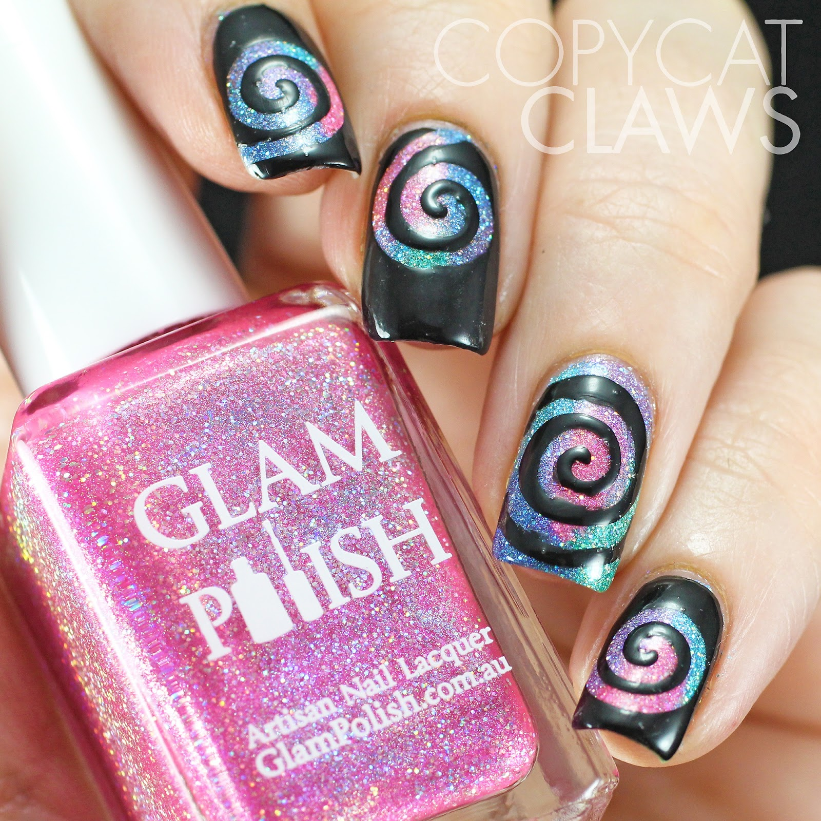 copycat claws swirl nail stencils over glam polish. Black Bedroom Furniture Sets. Home Design Ideas