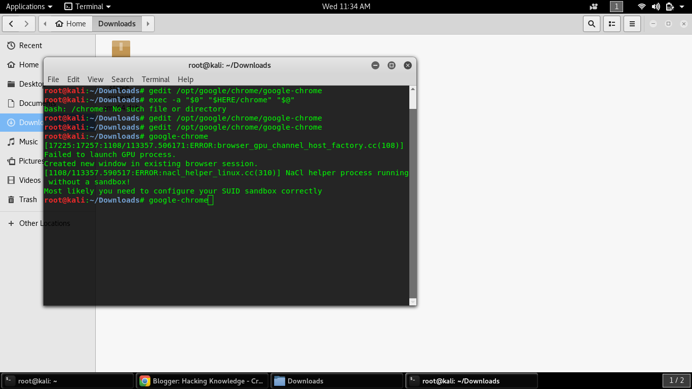 Run Google Chrome As Root User In Kali Linux | Hacking Knowledge
