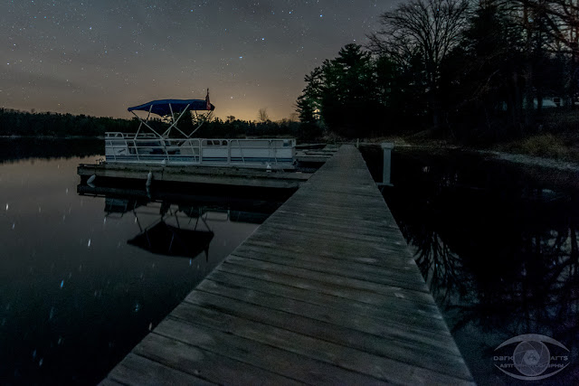Dock at Shawmere Cottages in Lyndhurst, Ontario.