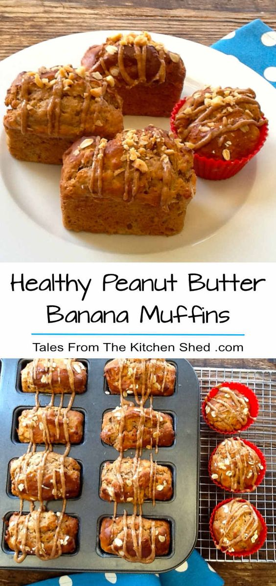 Healthy Peanut Butter Banana Muffins #breakfast #snack #healthy #peanut #butter #banana #muffins