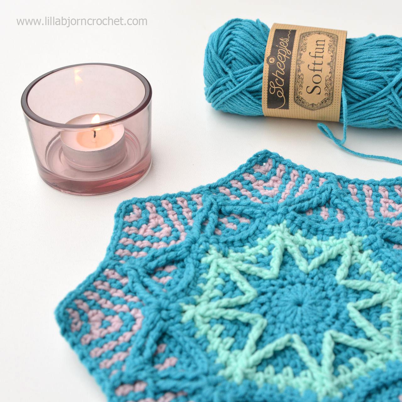 Wintery Octagon Mandala - overlay crochet pattern by www.lillabjorncrochet.com