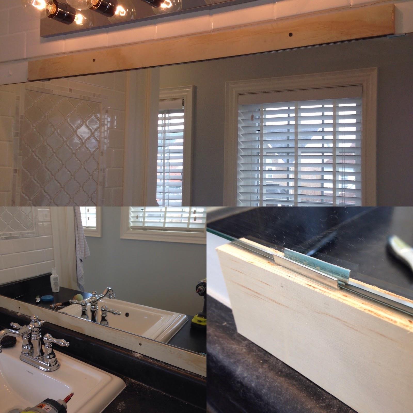 White Wood Weekend bathroom update to frame a bathroom mirror
