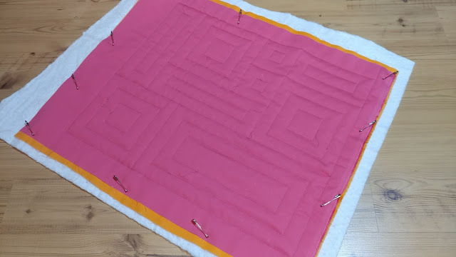 Quilting on the mini quilt