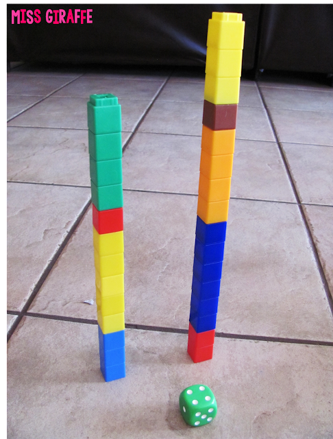 So many fun numbers games to build number sense... click for directions on how to play this math center Stack It and lots of other math games