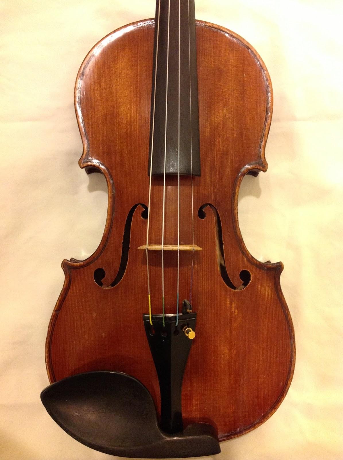 Modern Italian Sliding Etched Glass Door: Modern Italian Violin (20th Century)- Mario Frosali