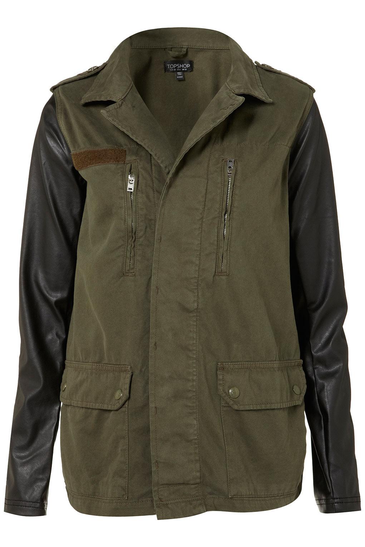 Leather sleeves jacket