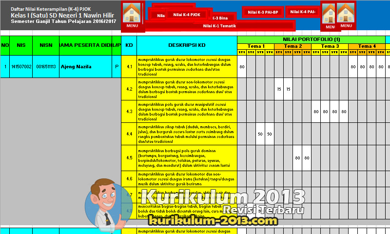 Format Penilaian Kurikulum 2013 Revisi 2016 Kelas 1 SD Format Excel