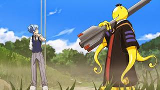 Nagisa Shiota oraz Koro-sensei trzymajacy rakietę - główni bohaterowie Ansatsu Kyoushitsu
