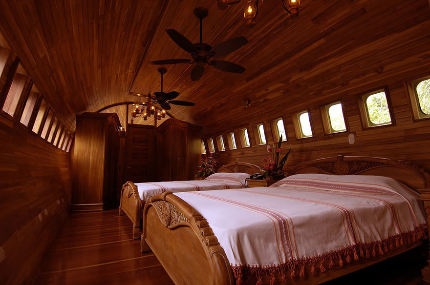 14 Crazy Hotels That Will Give You Serious Travel Goals - Plane Hotel in Costa Rica was created from a refurbished 1965 Boeing 727 that made a safe landing in the area. And don't worry: the interior is a lot better than anything you'd find in a regular airpla