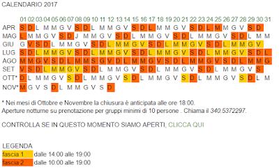 Calendario ParcoAvventura Bergamo 2017