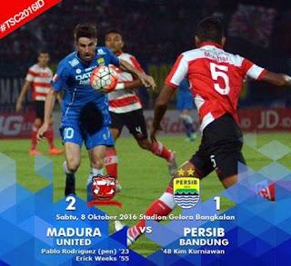 Persib Bandung Kalah 1-2 dari Madura United TSC Sabtu 8/10/2016