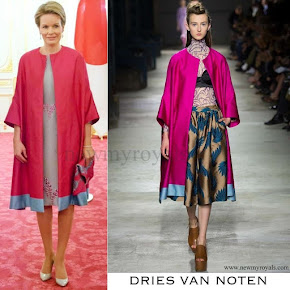 Queen Mathilde wore DRIES VAN NOTEN Silk Coat from Spring/Summer 2016 Collection