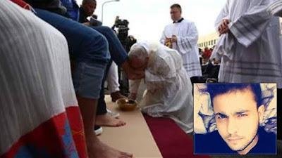 """لن تصدق هذا هو اللاجئ السوري الذي """"قبّل"""" بابا الفاتيكان قدمه!.... وسبب لا يصدقه عقل"""