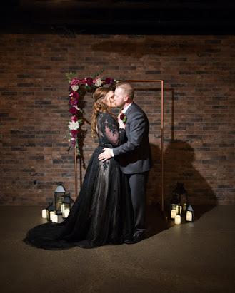 black plus size wedding dress