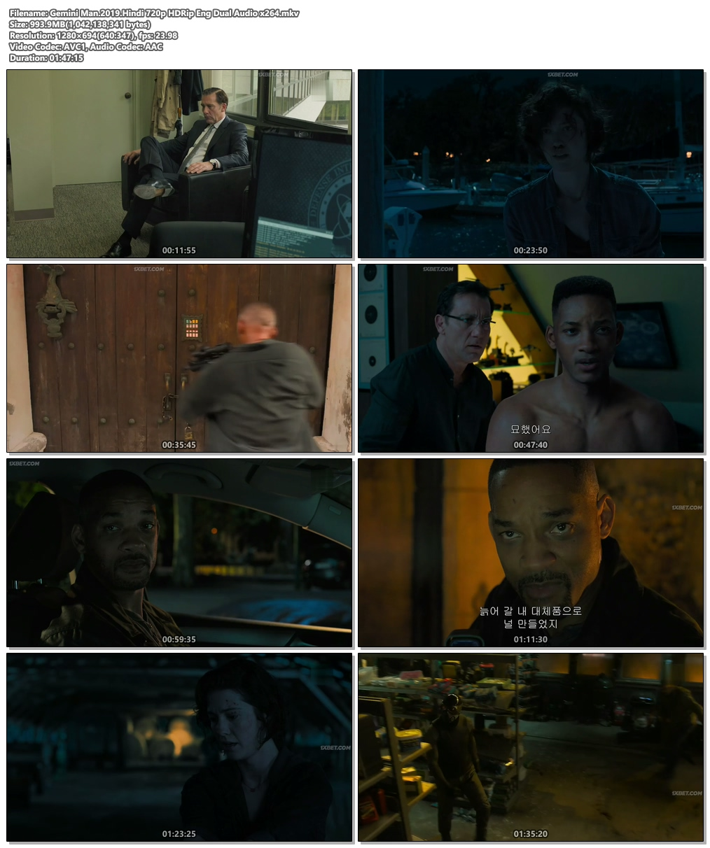 Gemini Man.2019.Hindi 720p HDRip Eng Dual Audio x264 | 480p 300MB | 100MB HEVC Screenshot