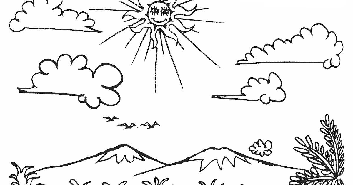 Gambar Mewarnai Pemandangan Langit Cerah dan Berawan Untuk