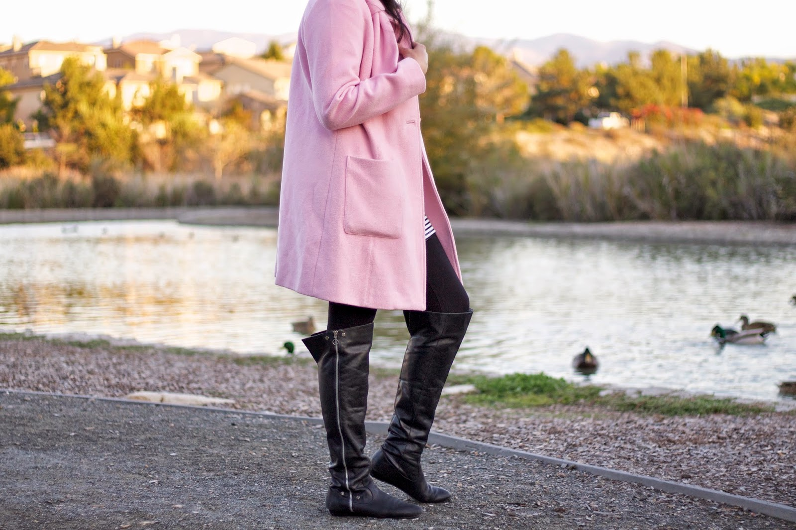 CAbi tuscadero coat, CAbi pink coat, jessica simpson over the knee boots, over the knee boots, winter 2015 outfit, bloggers wearing over the knee boots