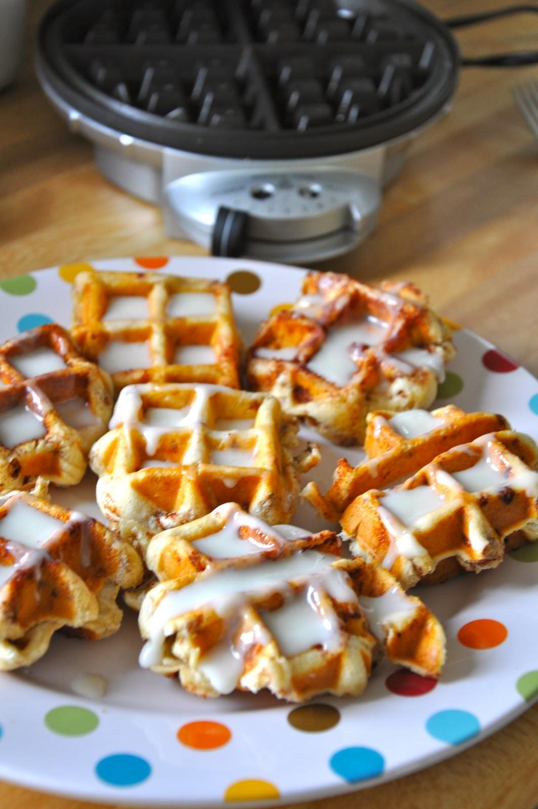 Little Bit Funky: cinnamon rolls in a waffle iron! who knew!!