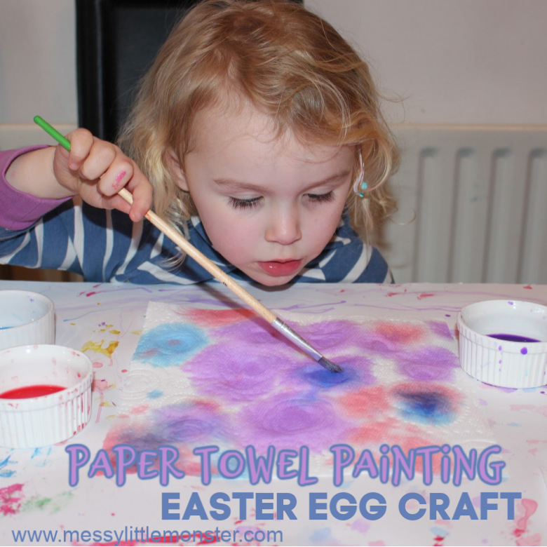 paper towel painting and easter egg craft