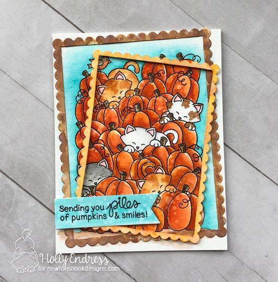 Cats in Pumpkin Patch Card by Holly Endress | Newton's Pumpkin Patch Stamp Set by Newton's Nook Designs #newtonsnook