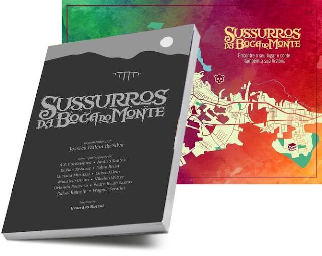 O livro Sussurros da Boca do Monte e o wallpaper com mapa de Santa Maria - RS