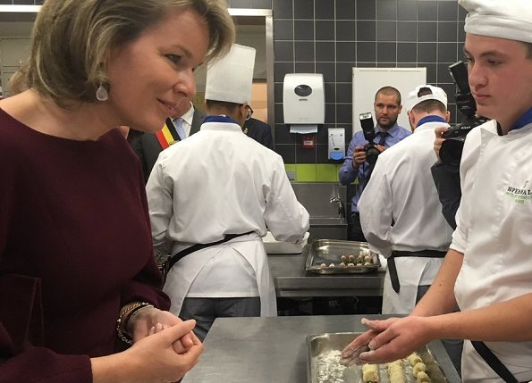 Queen Mathilde visited the Spermalie Hotel and Tourism School (Hotel- en Toerismeschool Spermalie) in Brugge