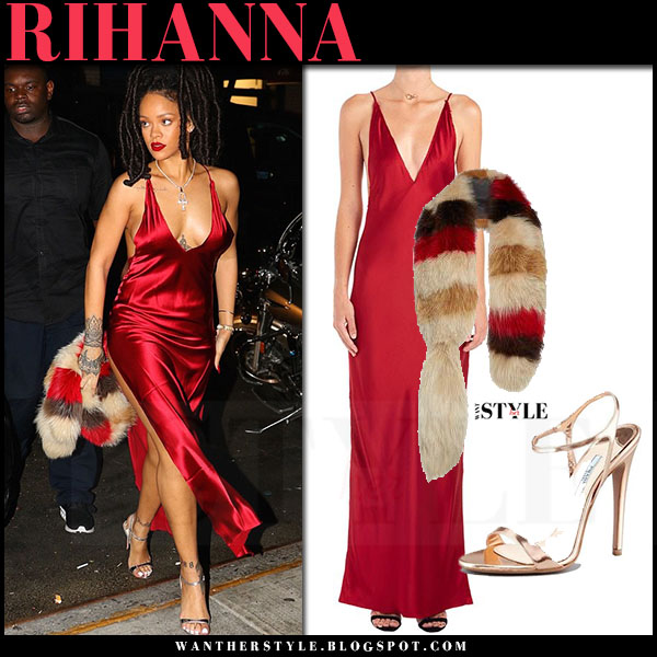 Rihanna in red satin dress are you am i nyissa with fur stole marni what she wore october 5
