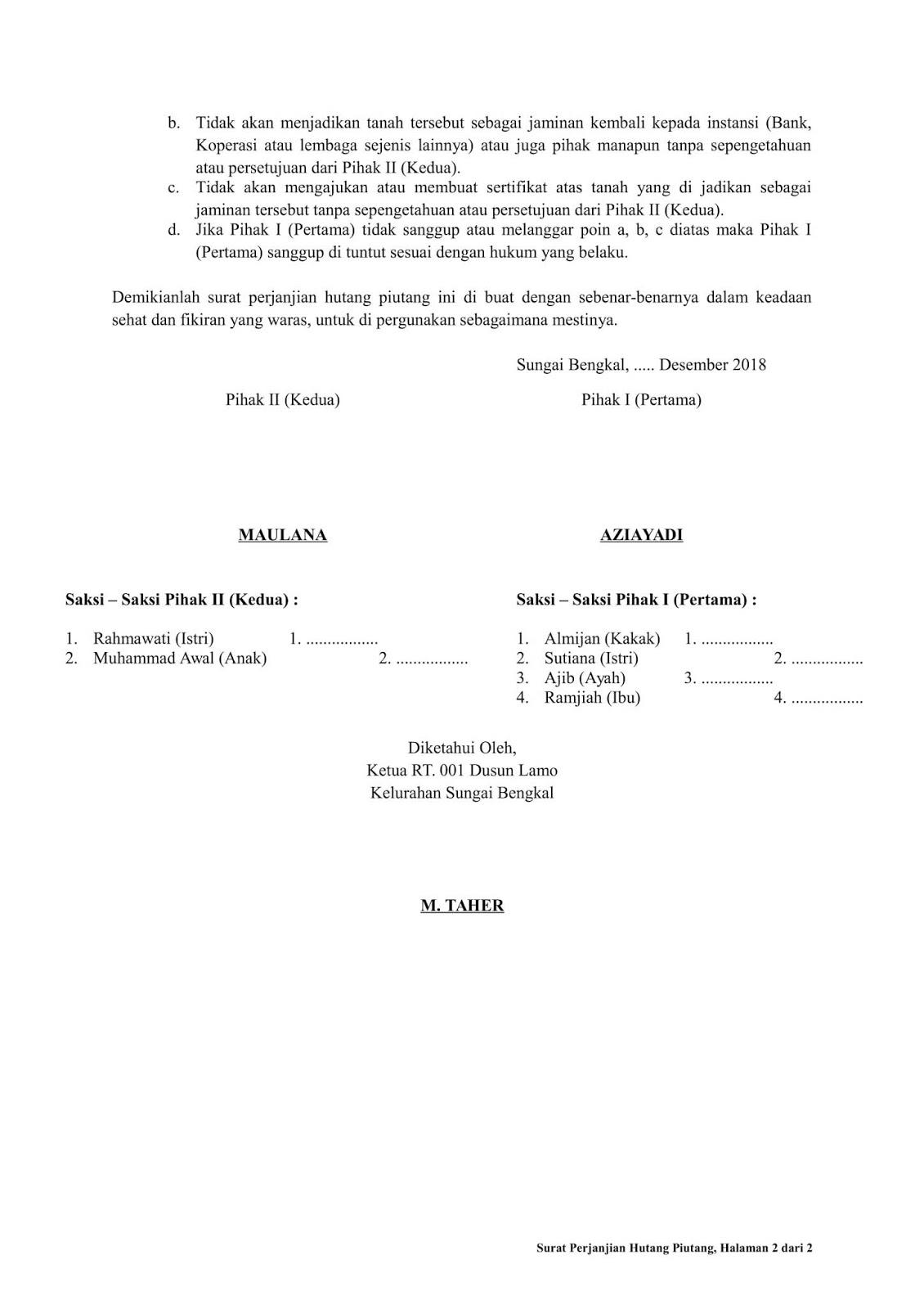 Contoh Surat Perjanjian Hutang Piutang Dengan Jaminan Tanah Contoh Seputar Surat