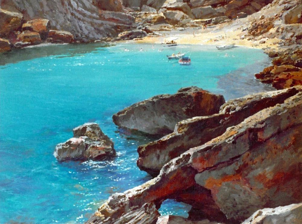 José Casanova Luján, Cala Carbó, Cala de Mallorca, Mallorca en Pintura, mallorca pintada, Paisajes de Mallorca, José Casanova, Pintor José Casanova