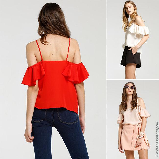 Moda 2018 blusas de moda para mujer casual urbano.
