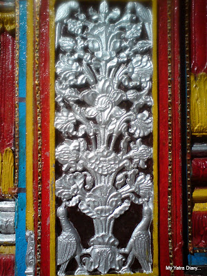 Latticed artwork on the door of the Badrinath temple of  the Char Dham in the Himalayas