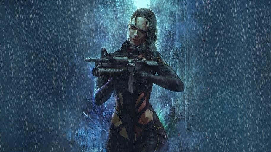 Sci-Fi, Soldier, Cyberpunk, Girl, Guns, 4K, #4.620