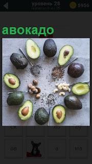 На поверхности стола по периметру в круг положены авокадо, некоторые плоды открыты и вытащены косточки