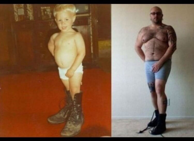 20 Hilarious Before And After Pictures Made By Adults Who Reminisced Their Childhood Years - It's not easy to tell which picture makes him look tougher.