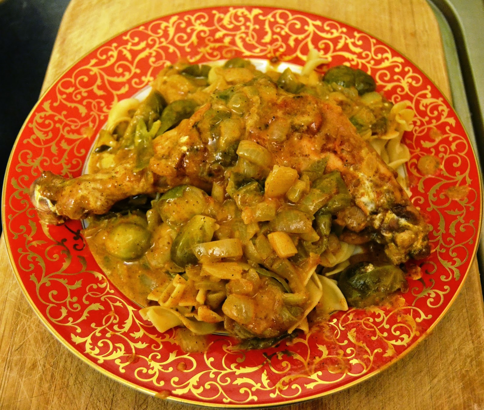 Chicken Paprikash with Brussels Sprouts and Egg Noodles