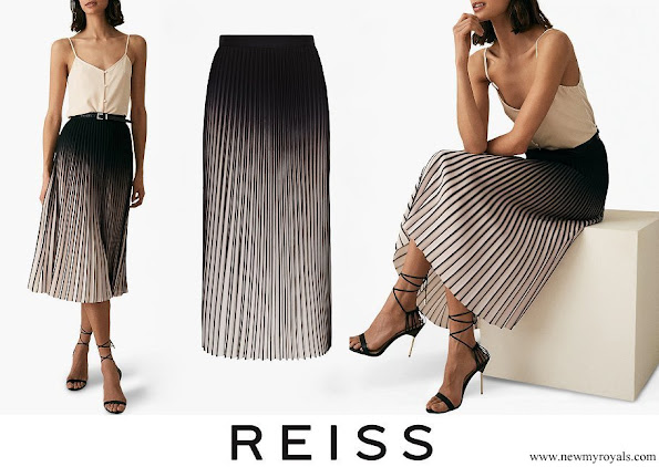 Queen Letizia wore Reiss Marlie Contrast Pleat Midi Skirt