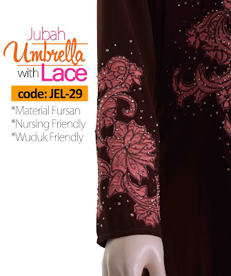 Jubah Umbrella Lace JEL-29 Brown Tangan 3