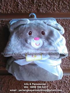 Selimut Bayi Lucu Bertopi Grey Brown Mouse