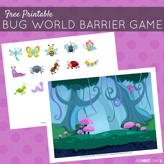 Free printable bug themed barrier game for speech therapy from And Next Comes L