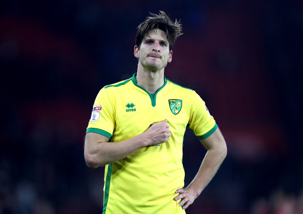 Timm Klose of Norwich City looks dejected after the Emirates FA Cup Third Round Replay match between Southampton and Norwich City at St Mary's Stadium on January 18, 2017 in Southampton, England