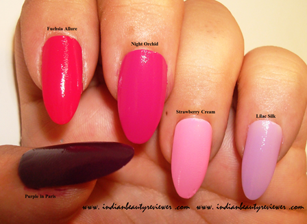 Indianbeautyreviewer Oriflame The One Long Wear Nail Polish Purple In Paris Fuchsia Allure Night Orchid Strawberry Cream Lilac Silk Review Price In India